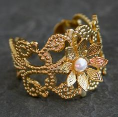 Gold Garden Ring Gold Filigree Flower Ring With by gazellejewelry, $30.00