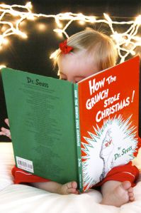 """Merry Christmas: Young Child/Toddler Reading """"How The Grinch Stole Christmas"""" Christmas Card Photo Idea"""