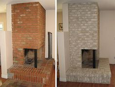 wall colors, paint brick, paint ideas, proper paint, painted fireplaces, brick fireplac, hous, fireplace wall, fireplace makeovers