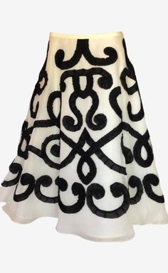 Oscar de la Renta White Black Skirt