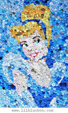 "Cinderella Button Art Collage via lilblueboo.com (click through to see the ""DIY How To"" HD  time lapse video)"