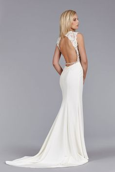 Ivory Silk Crepe modified A-line bridal gown, Alencon lace bodice, drop waist, open back with crystal trim detail chapel train. Bridal Gowns, Wedding Dresses by Jim Hjelm Bridal - JLM Couture - Bridal Style jh8460 by JLM Couture, Inc.