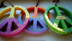 Peace Signs - Set of 3, Psychedelic, Hippie, Bohemian, Hand painted, Lime Green/Yellow, Yellow/Magenta, Purple/Orange - 3 3/4 inches by EarthMotherMosaics for $46.00 #zibbet