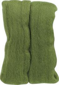 Clover USA Natural Wool Roving (Moss Green) - Needle Felting Tools