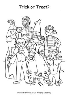 Trick or treat colouring page, Halloween colouring page