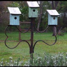 rusty metal with birdhouses.... birdhouses, bird feeder, display, sweet birdhous, birds, garden birdhous, iron, birdhous trio, bird hous