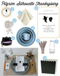 Preppy Pilgrim Silhouette Inspired Thanksgiving | curated by @Deanna at Mirabelle Creations on TheCelebrationShoppe.com #silhouette #thanksgivingtable #blackblue