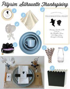Preppy Pilgrim Silhouette Inspired Thanksgiving | curated by @Deanna at Mirabelle Creations on TheCelebrationShoppe.com #silhouette #thanksgivingtable #blackblue silhouett inspir, pilgrim