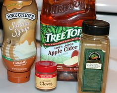 Quick and Easy Caramel Apple Cider CrockPot Recipe 4 cups apple cider 3 tablespoons caramel syrup (the ice cream topping) 1/2 tablespoon ground cinnamon 1/4 teaspoon ground cloves 4 tablespoons sweetened whipped cream (optional; I leave it off for my kids)