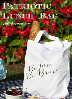 DIY Patriotic Lunch Bag by PartiesforPennies.com