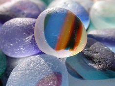 English sea glass - A beautiful and rare piece of multicolored sea glass.