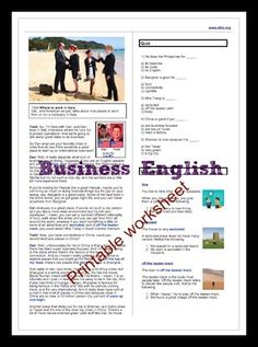 Great lesson for business English. This lesson comes with a free two-page printable worksheet, video, downloadable MP3, and a quiz.