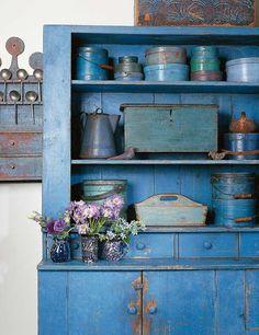 blue vintage distresssed decor