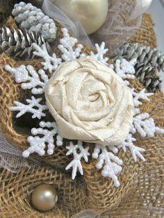 Elegant Burlap and Snowflake