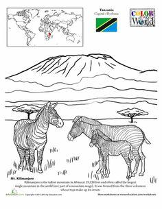 9/25/13 for himself. 2nd Grade Worksheets: Color the World! Mt. Kilimanjaro