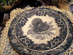 Blue Transferware Turkey Plate