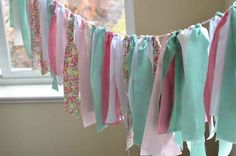 tea party birthday, girl birthday, color, garlands, scrap fabric, fabric scraps, fabric garland, crepe paper, parti