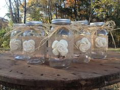 Set of 5 - Shabby Chic Rustic Mason Jars with Sola Flower - Rustic Wedding Decor via Etsy