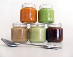 Homemade baby food recipes - Prune Cinnamon Apple puree and Zucchini Potato baby food