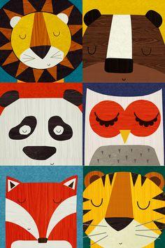 Retro illustrations of lion, bear, panda, owl, fox and tiger. By Rebecca Elliott.