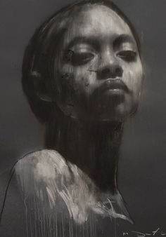 Ciprana large head study 1, pastel & collage, 32ins x 44ins. | Mark Demsteader