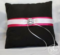 Black Satin Ring Pillow With Fuchsia & White Bands