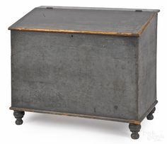 Pennsylvania painted pine feed bin, 19th c., retaining and old blue/green surface, 34 H. x 40 w.