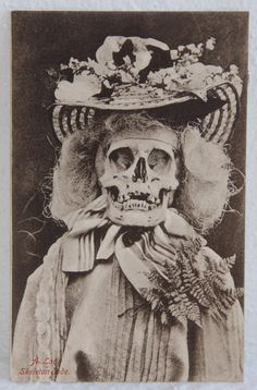 1905 Rare Macabre Death Antique Skeleton Lady Dressed To Kill