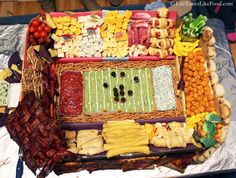 How to Make the Ultimate Football Snackadium -- Snack-filled stadium with a retractable bacon dome? Oh. Yum. (And scroll down for the beer can blimp.) | lifetasteslikefood.com footbal stadium, ultim footbal, superbowl foods, footbal snackadium, super bowl foods, football stadiums, edibl stadium, football foods, parti food