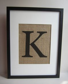 "Burlap Monogram Wall Decor - Print 8"" x 10"" - All Letters Available - Capital or Small - Canvas Wall Decor on Etsy, $17.00"