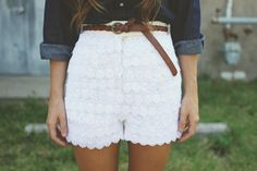 Save some money on fashionable lace shorts by making your own with some trim.