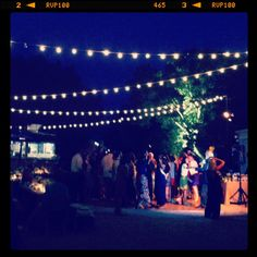 Wedding outdoors string lights for our dancing area