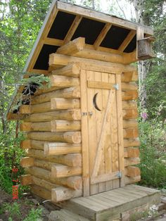 outhouse outdoor bathrooms, idea, garden tools, logs, tiny houses, log cabins, sheds, outhous, dream catcher