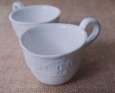 Porcelain Lace Tea Cups, Set of 2, Handmade by Mrs Peterson Pottery