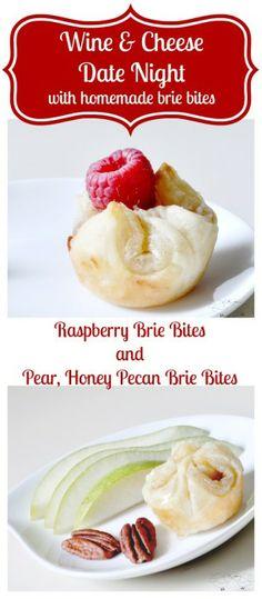 Raspberry Brie Bites and Pear, Honey Pecan Brie Bites