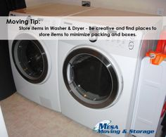 Moving Tip: Store clothes and blankets in washer and Dryer to save packing and space #moving #tip