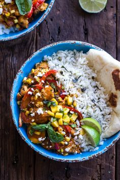 Simple Summertime Basil Chicken Curry with Coconut Ginger-Lime Rice by halfbakedharvest: Summer cozy food. #Curry #Chicken