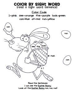 FREE Easter Bunny Color by Sight Word!