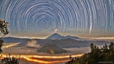 Star Trails over Mount Bromo