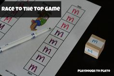 Race to the Top Game. Motivating way to give children practice writing letters.  I think my four year old will love this game!