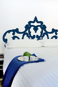 Headboard painted on the wall