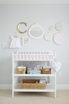 #shabby-chic, #nursery, #gallery-wall, #changing-table  Photography: Gracie Blue Photography - www.grblue.com  View entire slideshow: 20 Traditional Nursery Ideas on http://www.stylemepretty.com/collection/398/