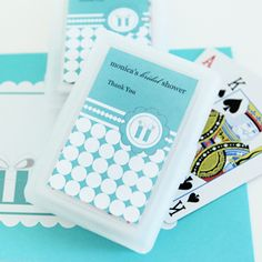 Personalized Playing Cards - Something Blue at WeddingFavors.org