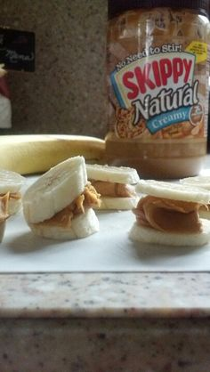 a healthy quick snack.. prepare and throw in the fridge for the on-the-go woman/man healthi snack, banana, almonds, quick healthy snacks on the go, almond butter, healthy man snacks, healthy quick snacks, healthi quick, peanut butter