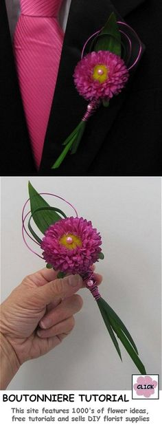 How to Make an Aster Boutonniere - Easy Flower Instructions. Step by step photos for boutonnieres, corsages, centerpieces, bouquets and more. Buy professional florist supplies for DIY weddings.