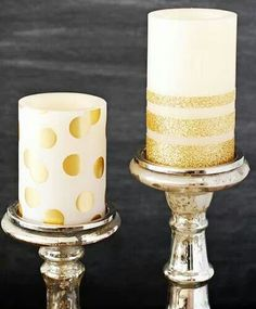 glitter craft, idea, polka dots, gold glitter, diy gold, candles, glitter candl, diy wedding, gold candl