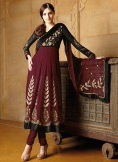 Maroon Viscose Georgette Salwar Suit