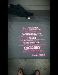 "Hilarious ""in case of emergency"" bachelor party shirt"