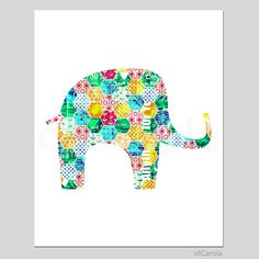 ELEPHANT PRINT Wall Art Colorful Home Room Decor Artsy by ofCarola, $15.00