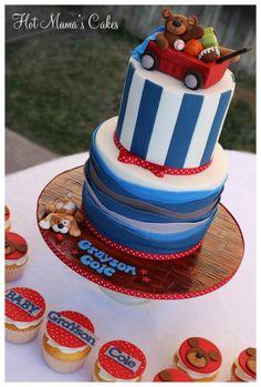 wagon and teddy bear cake